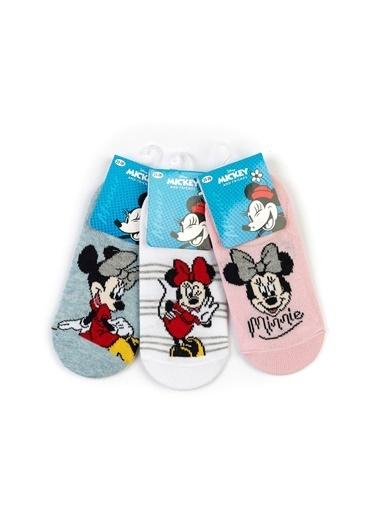 Minnie Mouse  6 Çift Sneaker Çorap 15974 Kırmızı